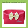 Manufacturer tactical cute pink color pu cosmetic bag with bowknot