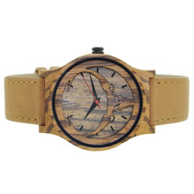 wholesale bobo bird brand mens wood watch japan movt watch bamboo face watch with Genuine Leather ... for New years' gifts