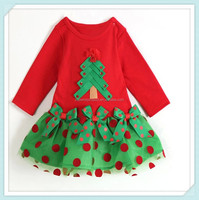 Wholesale girl's dress Christmas tree long party tutu skirt bow children christmas chevron girl dresses fancy girls party dress