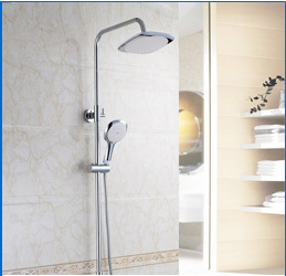 "Wall Mount Chrome Bath Thermostatic 8"" Round Rain Shower Set"
