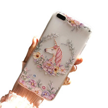 3D Relief Unicorn Floral TPU Phone Accessories Mobile Case For iphone