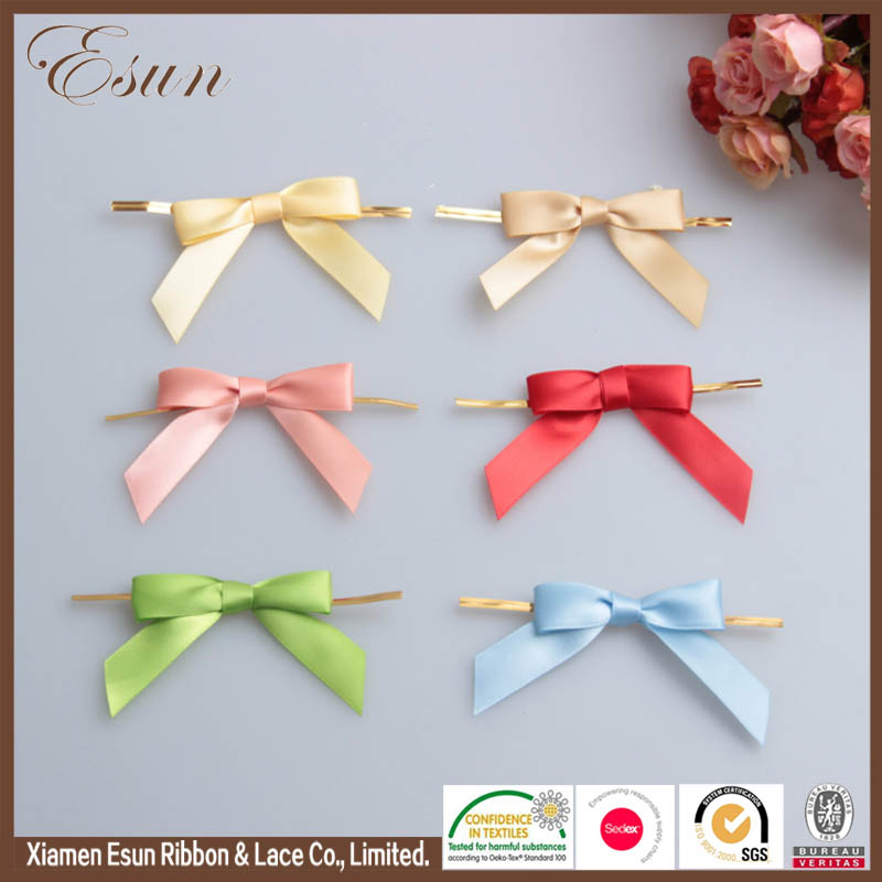 New design make wholesale 1'' satin ribbon bows satin ribbon flowers