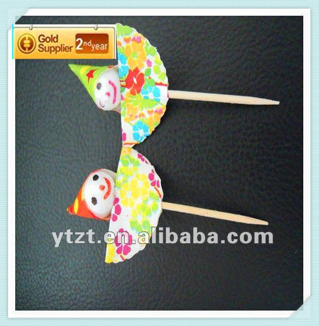 Hot sale all packing paper wrapped party parasol colorful umbrella picks suppling to restaurant