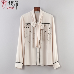 High Quality Rhinestone Long Sleeve Front Back Blouse Formal For Ladies Bow Shirt