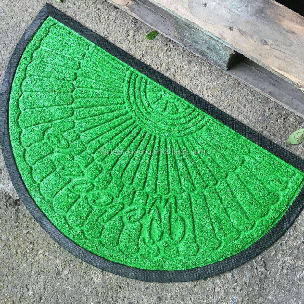 Engraved Fake Grass Rubber Door Mats Synthetic