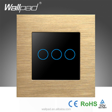 Best Quality Wallpad 110-250V Touch Waterproof Gold Metal Frame Glass 3 Gangs Soft Wall Touch Screen Light Switch