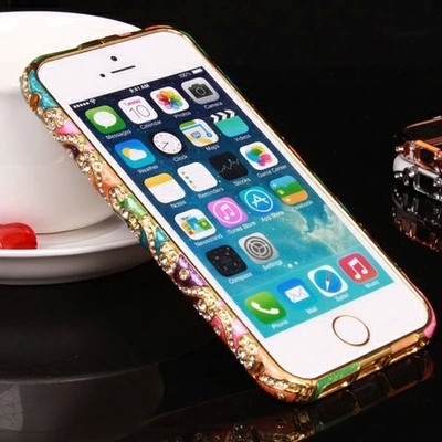 New Style! Cloisonne Luxury National Wind Design Diamond Bezel Rhinestone Bumper Frame Case For iPhone 6 6G
