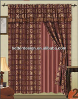 2PCS JACQUARD WINDOW CURTAIN JACQUARDWITH VALANCE AND LACE BACKING AND 2 TASSELS
