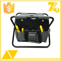 Heavy duty folding garden stool with tool bag