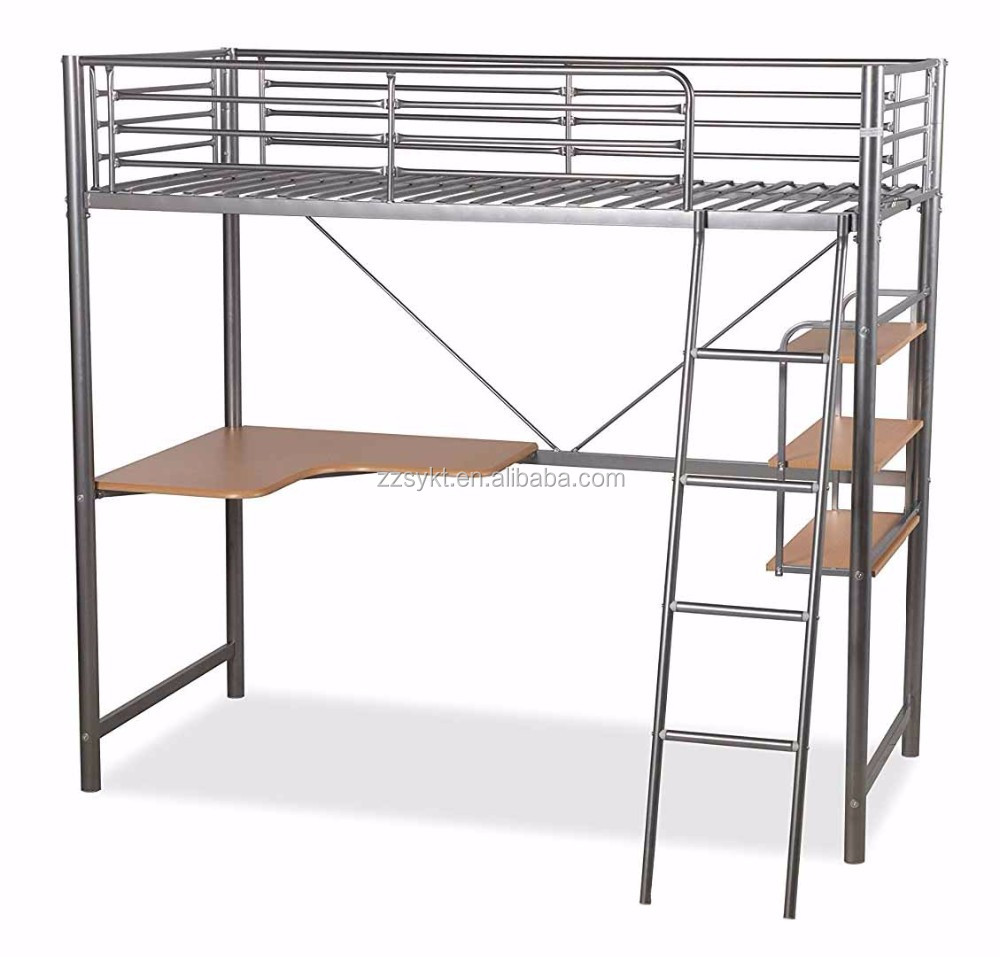 Utility school student loft beds metal bunk beds with writting desk wholesale