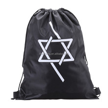 wholesale custom printed polyester/non woven drawstring laundry bag