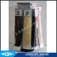 Customized metal hair extension display stand / desktop rotating hair extensions display / spinning hair extension display rack