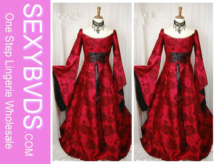 LUXURIOUS FLOWER PRINT RED LACE UP FANCY DRESS COSTUMES HALLOWEEN WEDDING DRESS COSTUMES SL8532