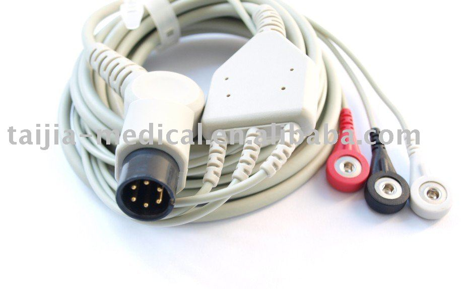 universal use compatible 6pin 3 leads ECG cable