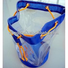 Vinyl Plastic PVC Shopping Drawstring Bag For Cosmetic Make Up Bag Travel Pouch
