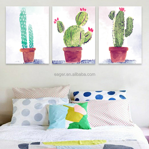 Colorful Art Print Painting Green Plant Wall Picture on Canvas