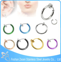 Hot! Spring Action Design Non Piercing Jewelry Nickel Free Nose Rings