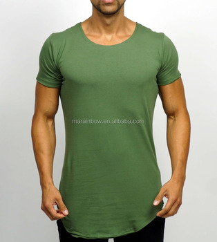 Olive Green Mens 94% Cotton 6% Elastane Gym Fitted T Shirt Scoop Neck Longline T Shirt Fashion Cuved Hem Tee OEM