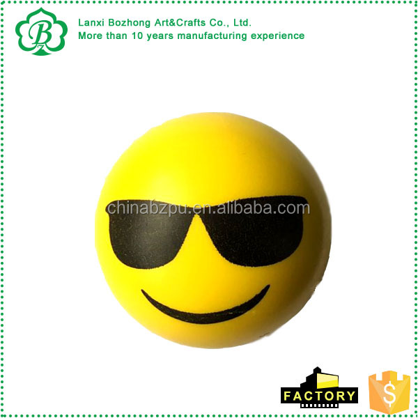 2016 emoji stress squash toys stress reliever ball with logo printed