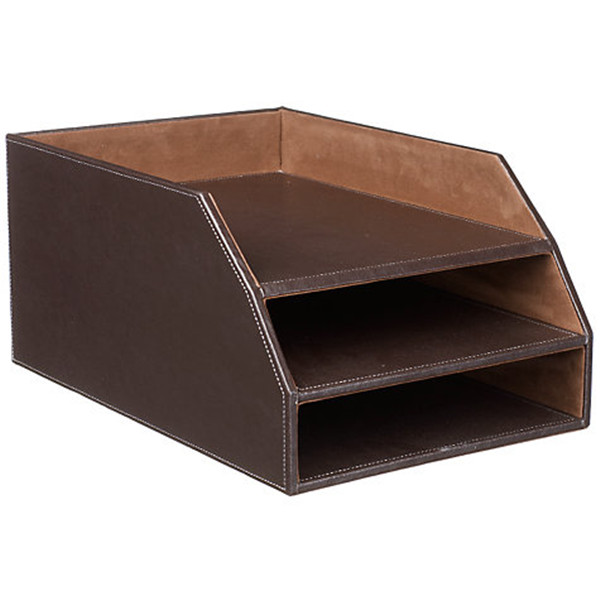 PU faux leather office desk organizer document tray