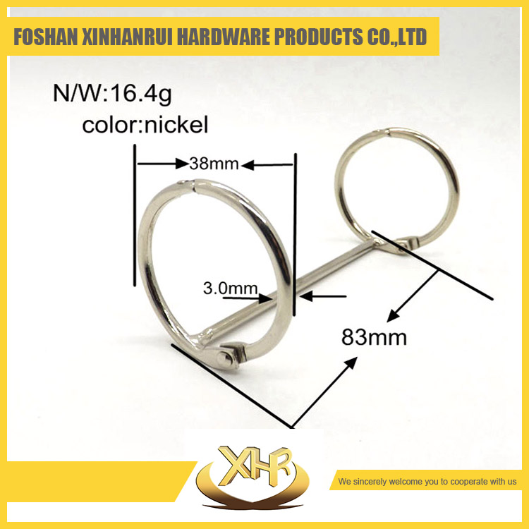 Nickel plated file folder accessories 83mm length 2 open hole binding ring <strong>clip</strong> for calendar