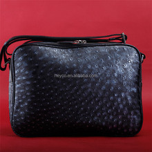 Heyco black luxury genuine leather ostrich skin man casual messenger shoulder bag