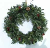 China wholesale suppliers Handmade Artificial green Outdoor xmas wreaths