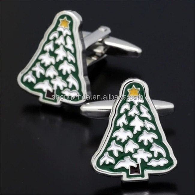 Christmas Gift Cufflink Metal Sleeve Button X mas Tree Cufflink