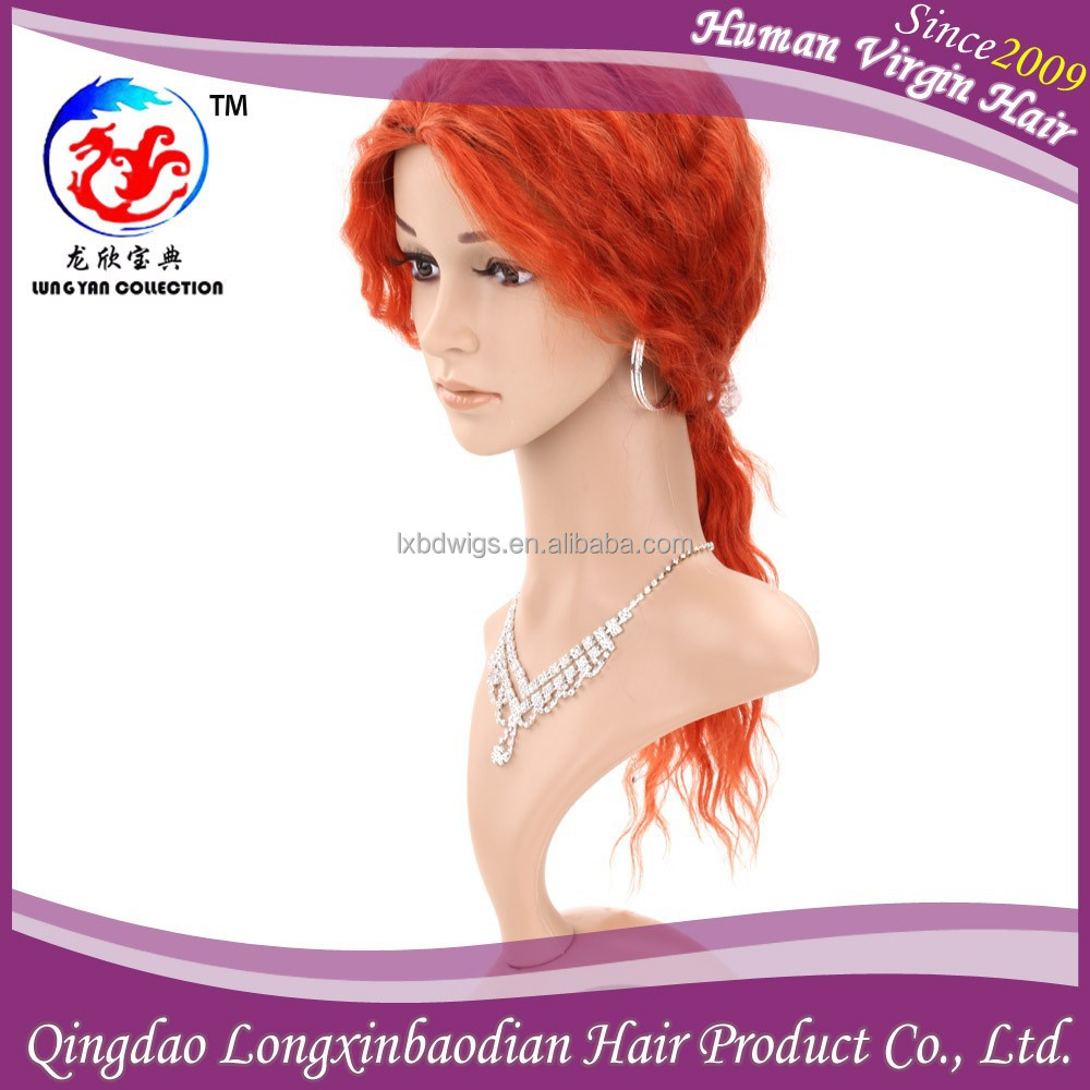 2015 New Arrival Qingdao Factory Hot Beautiful Color Modern Front Lace Wig,Orange Virgin Brazilian Hair Wig