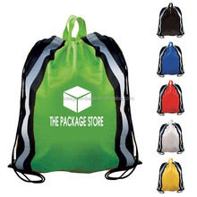 New fashion 210D waterproof drawstring backpack beach bag school/sport/gym bags with 2 refletive bands sewn vertically in front