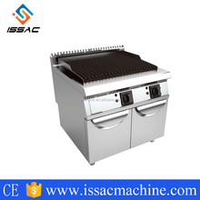 IS-CR-GC-909 flat gas electric barbecue grill with lava hot rock grill with cabinet for CE