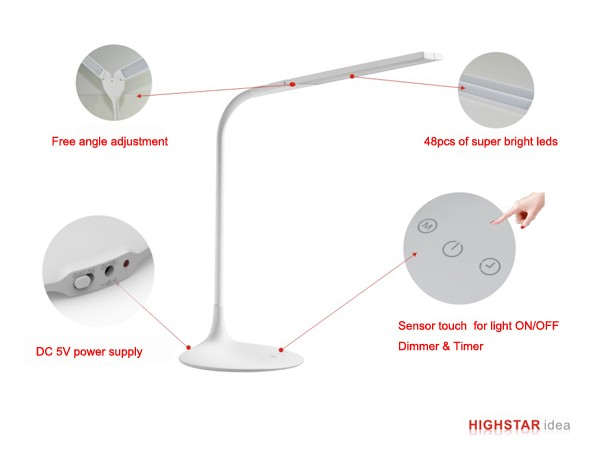 Three model light timer flexible led table lamp for reading