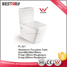 White colour Sanitary ware porcelain two piece floor mounted dual flush toilet