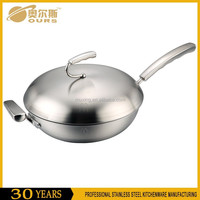 Durable non-stick deep stainless steel frying pan/chinese wok pan