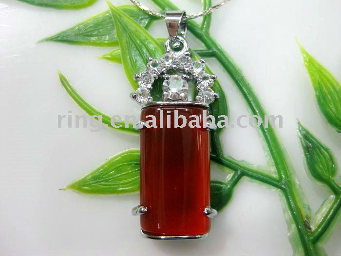 Charm natural red jade cylinder pendant chain Necklace