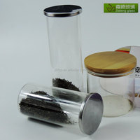 Airtight little glass jars glass storage jar with lid