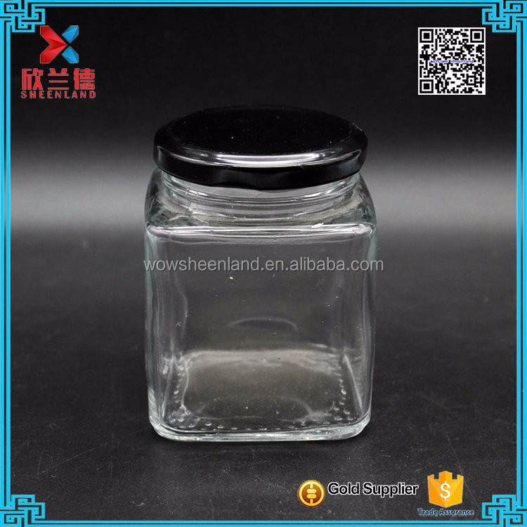 chinese 9oz square glass jars and lids