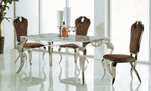 Stainless Steel Frame & Marble Top Dinning Table