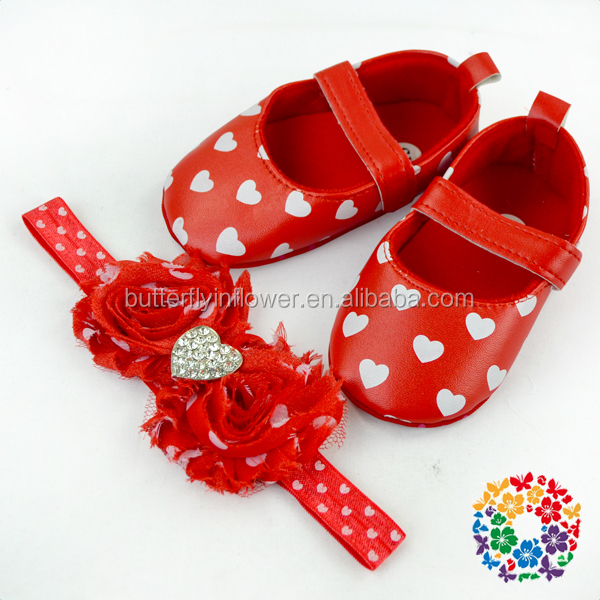 latest holiday red white heart print baby walkers shoes with matching shabby flower headband