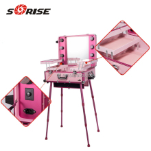 Sunrise Black Rolling Studio Makeup Artist Cosmetic Case w/ Light Mirror Portable Train Table On Wheels