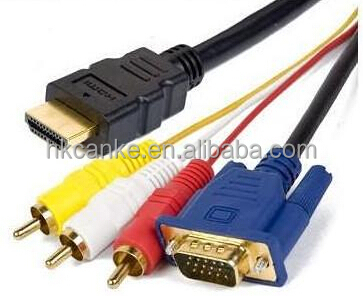HDMI to VGA 15pin Male 3 RCA Male Composite Converter AV Cable
