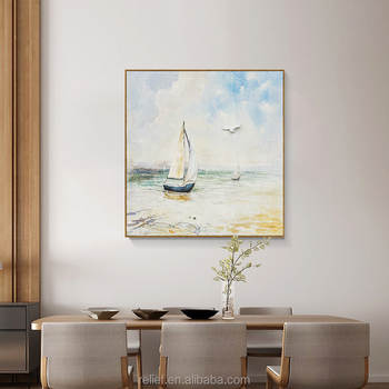 Handpainted Sailing Ship Canvas sail ship Oil Paintings modern wooden decorative paintingfor Home decoration