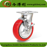 "Heavy Duty 4"" Adjustable Red Casters For Industrial Use"