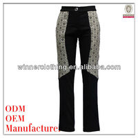 slim fit jacquard design side picture of pant and shirt with high waist