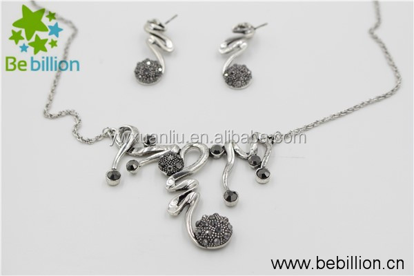 yiwu plate complicated necklace jewelry , alloy chain necklace ,silver necklace set