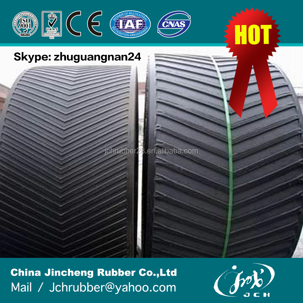 wear resistant and oil resistant chevron rubber conveyor belt for mining ore dressing