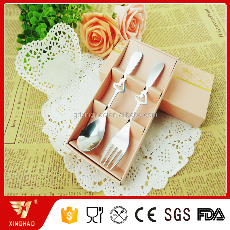 New Arrival 2Pcs Gift Set Cutlery Stainless Steel Spoon and Fork with Unique Handle