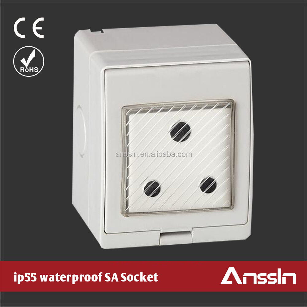 ip55 waterproof surface wall mounted power outlet socket