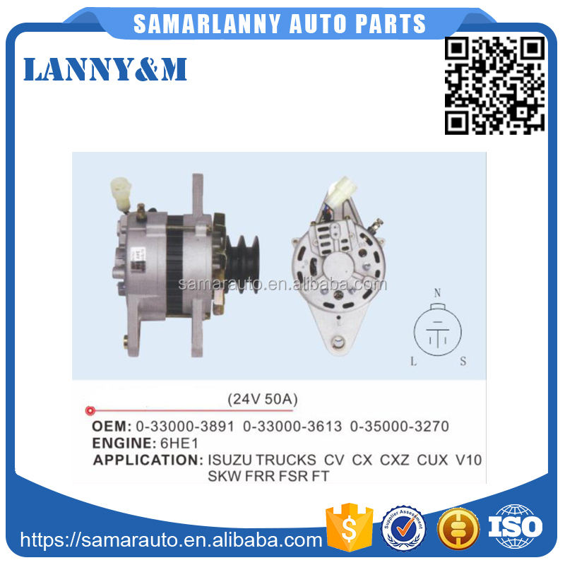 Professional Manufactures 24V 50A Auto Generator Car Alternator for Hino 0-33000-3613 0-33000-3891 0-35000-3270