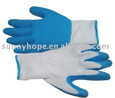 10gauge seamless liner with palm coated blue latex gloves